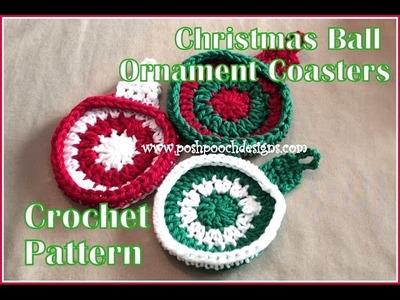 Christmas Ball Ornament Coaster Crochet Pattern
