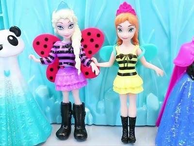 Disney Frozen Elsa and Anna Dolls With Poly Poket Dresses Toys