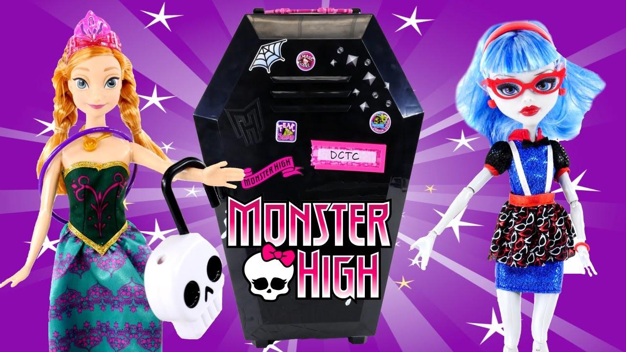 Disney Frozen Fangtastic Locker Coffin Monster High Doll 16 Piece Storage Princess Anna Barbie DCTC