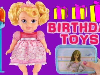 Disney Princess Baby Doll Aurora Birthday Surprise TOYS! MLP PEZ Barbie Bag! Magic Towel