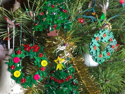 DIY Christmas Puzzle Ornaments - Christmas Tree and Wreath - Tutorial