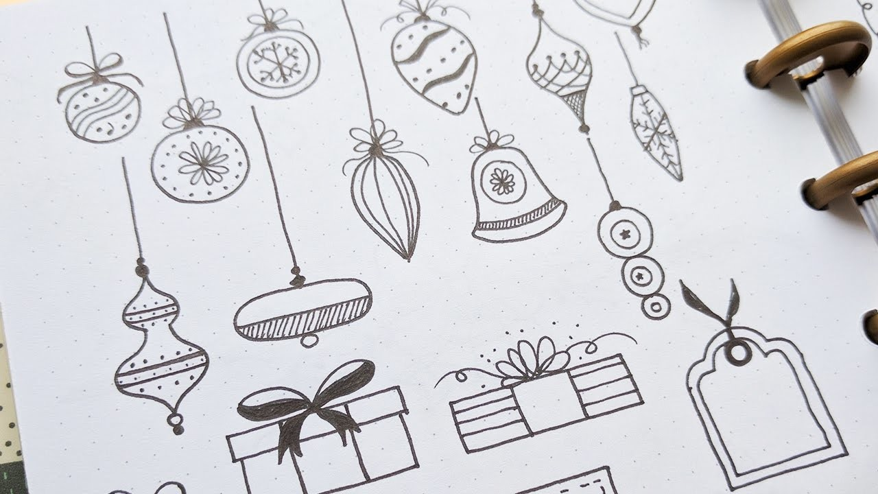 Doodle with me: Christmas Doodles Pt. 1 | Balls, Gifts, Trees, Wreaths and Fancy Borders