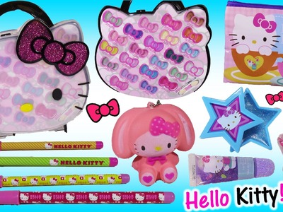 Hello Kitty Bonanza! Lip Gloss Eyeshadow Sparkle CASE! Nail Polish Bag Pens Sponge! Silly SQUISHIES!