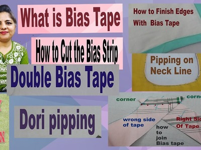 How to Join Bias Tape-joining bias binding-learn 2 ways to join Strips-step by step in hindi
