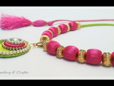 How to make Silk Thread Pendant Necklace at Home !!