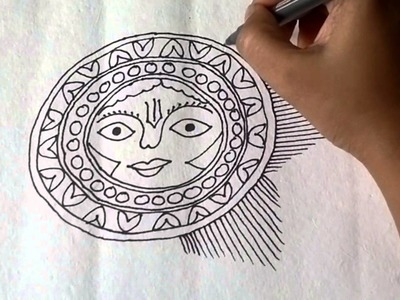 Lesson 11 : (हिन्दी) Draw a sun sketch in Madhubani painting - Part 1