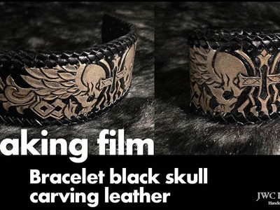 Making Biker bracelet skull design leather carving 가죽팔찌 가죽카빙
