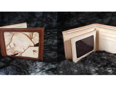 Making film mens bifold wallet Portrait carving leather