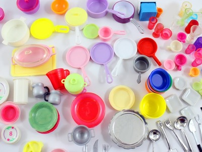 My Doll Kitchen Utensils  Collection- Doll Crafts - pots,pans,plates,cuttlery,utensils,cups
