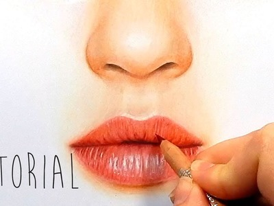 Tutorial | How to draw, color realistic lips with colored pencils - step by step | Emmy Kalia