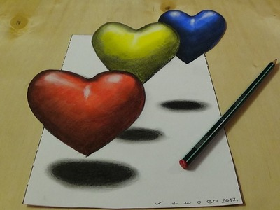 3D Drawing and coloring for Kids - Coloring 3D Hearts