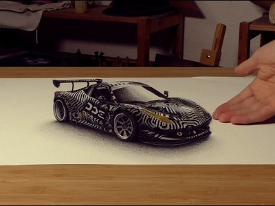 3D Drawing Painting DDE Ferrari 458 by Stefan Pabst