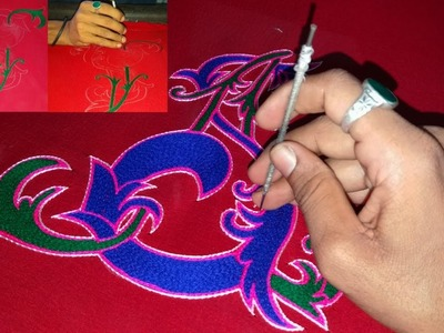 A S designing logo stitching by hand