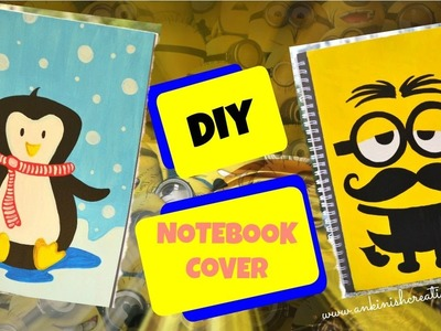 DIY: Cute Notebook cover ideas!! Minion and Penguin