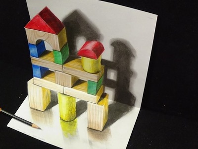 Drawing 3D Trick Art - Wooden Building Toy Visual Illusion