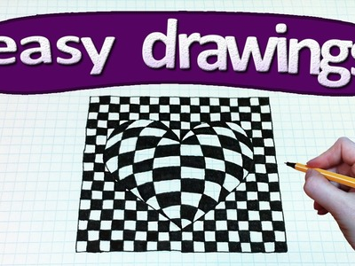 Easy drawings #238   How to draw a heart. 3d drawings for beginners