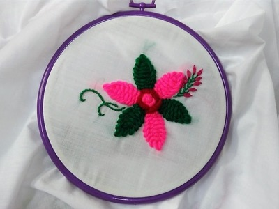 Hand Embroeidery - Green and Pink Flower with Yarn Stitch