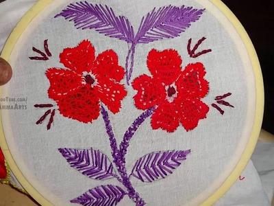Hand Embroidery Cut Work Flower Designs by Amma Arts.