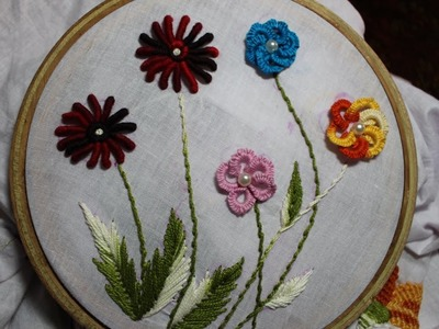 Hand Embroidery Designs | Cast on Bullion knot stitch | Stitch and Flower-92