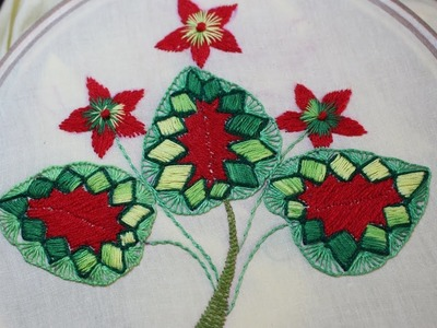 Hand Embroidery Designs | Leaf tutorial beginners  | Stitch and Flower-108