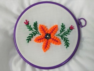 Hand Embroidery - Flower with Spiderweb stitch