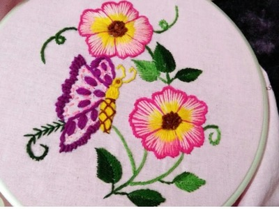 Hand embroidery flower with butterfly