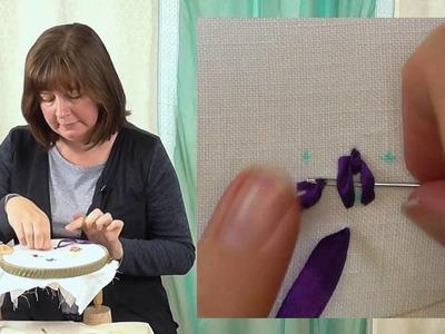 Hand Embroidery - Ribbon work ribbon fly stitch