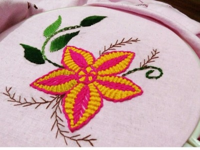 Hand embroidery Romanian, stem, cable chain,  lazy Desy, feather,  web and Cretan stitch combination