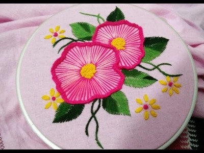 Hand embroidery shaded ruffle flower