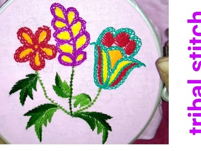 Hand embroidery tribal stitch variation of chain and fishbone stitch