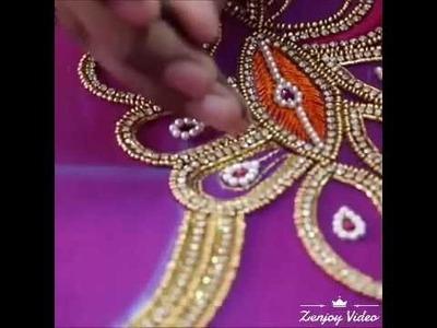 Hand work blous & sharee kucchu designs