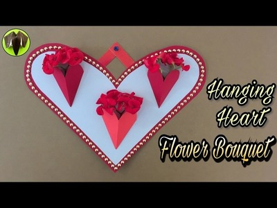 HANGING HEART FLOWER BOUQUET for Valentine's Day - Tutorial by Paper Folds #705
