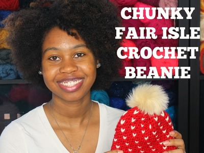How to Crochet Chunky Fair Isle Beanie  How to Crochet the Waistcoat Stitch or Knit Stitch