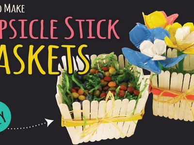 How to Make a Popsicle Stick Basket  | Easy Party DIY | Kids Crafts by Three Sisters