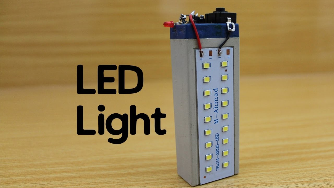How to make a Rechargeable LED Light - Powerful - Easy   Little Efforts-DIY