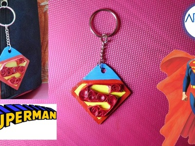How to make paper quilling superman logo keychain? Easy to make. Do it yourself.!