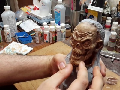 How to paint a Resin Bust tutorial without an Airbrush Part 2 (Cryptkeeper)
