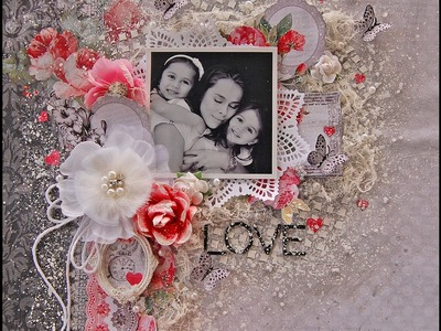 Love- Shabby Chic Scrapbooking layout- My Creative Scrapbook