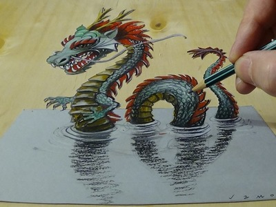 3D Drawing of a Chinese Dragon - How to Draw 3D Water Dragon