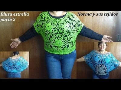 Blusa estrella a crochet  parte 2
