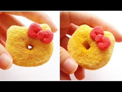 DIY Hello Kitty donut squishy using cosmetic sponges ♥ | homemade squishy tutorial