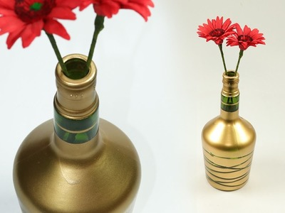 DIY Wine Bottle Craft -  Turn Waste Wine Bottle into Beautiful Flower Vase