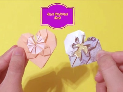 Easy Origami How to Make Banknote Flower Heart for Valentine 简单手工折纸 钞票 情人节爱心花 簡単折り紙 紙幣 ハートの花です