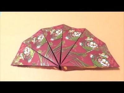 Easy Origami How to make CNY Ornamental Fan 简单手工折纸扇子.簡単折り中華の扇子です