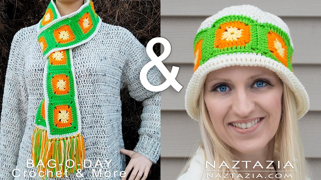 How To #Crochet Citrus Splash Granny Square Scarf TUTORIAL #366 Collab with Naztazia LEARN CROCHET