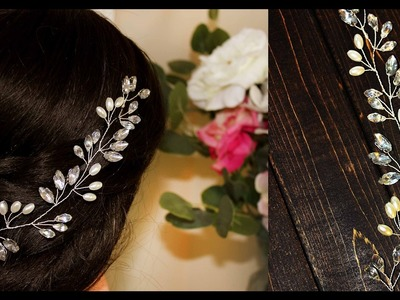 How To DIY Hair Comb Headpiece Hair Vine with crystals and rhinestones