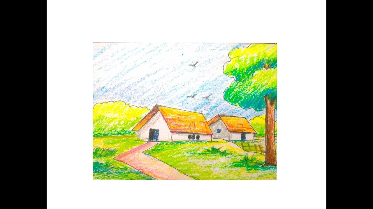 How To Draw A Beautiful Scenery Easy Tutorial For Kids