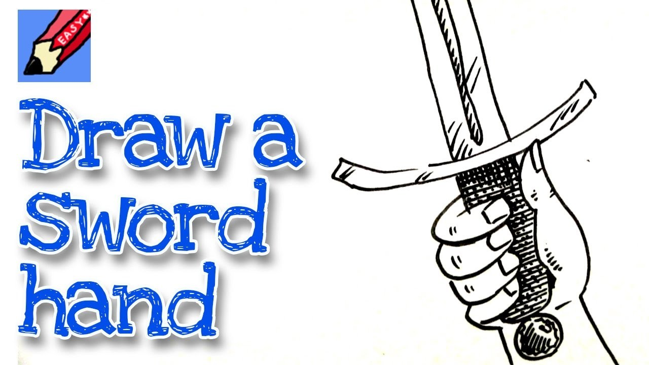 How to draw a Hand Holding a Sword Real Easy for kids and beginners