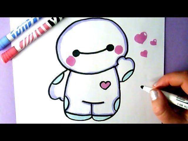 How To Draw Cute Hello Baymax Big Hero 6 Easy Drawing Tutorial