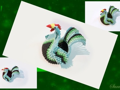 How to make 3d Origami rooster